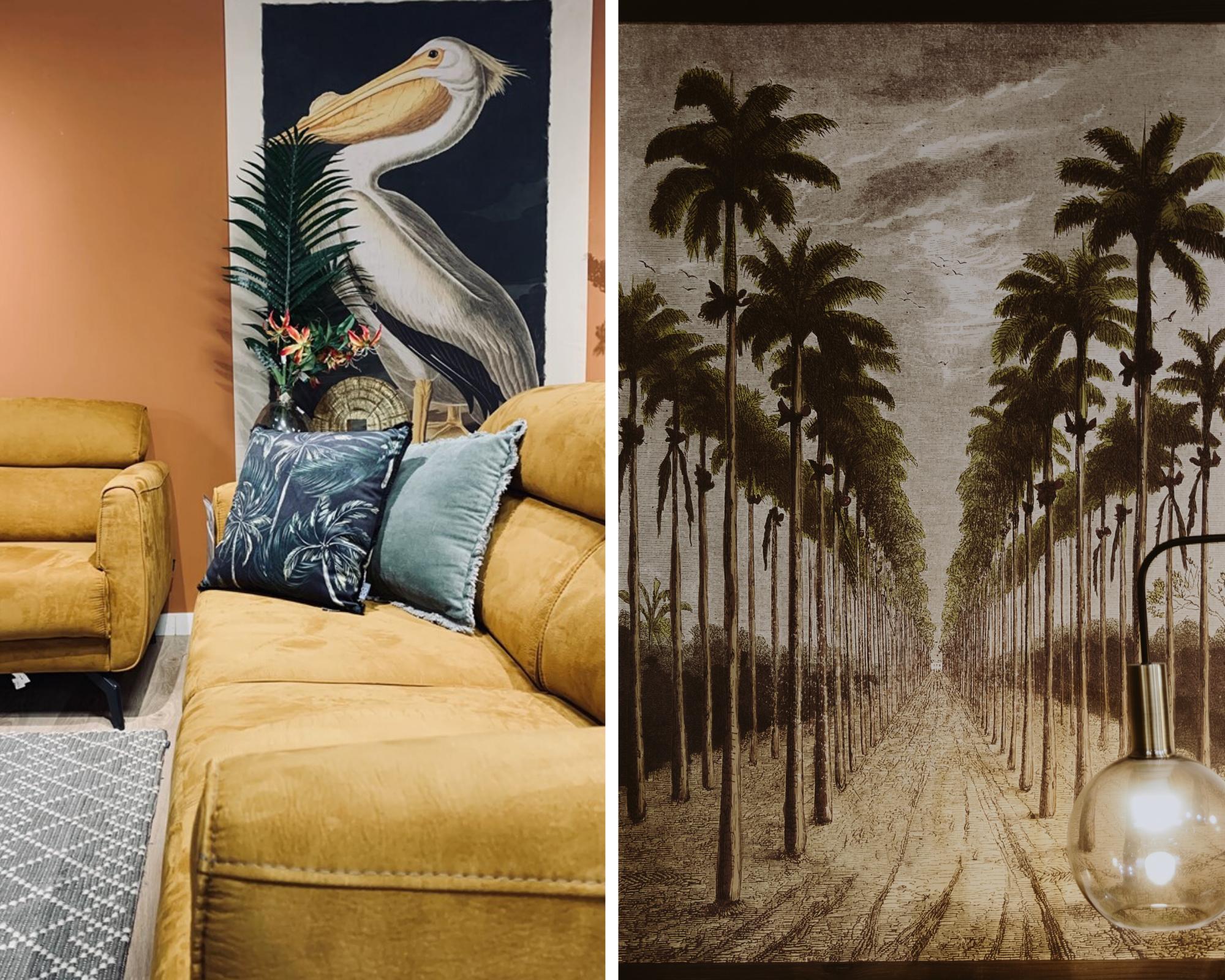 double photo toile tendue pélican et palmiers