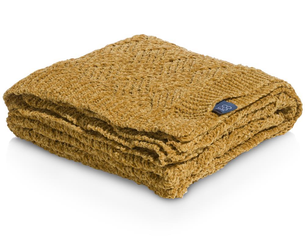 Plaid laine acrylique jaune