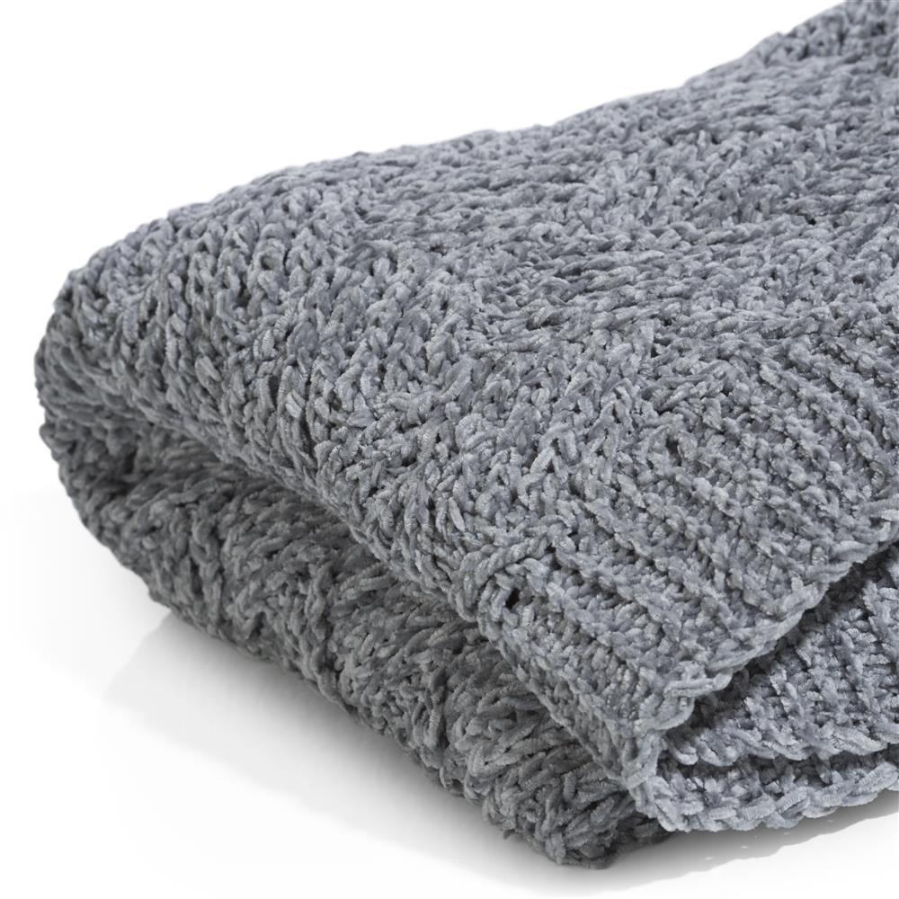Plaid laine acrylique gris