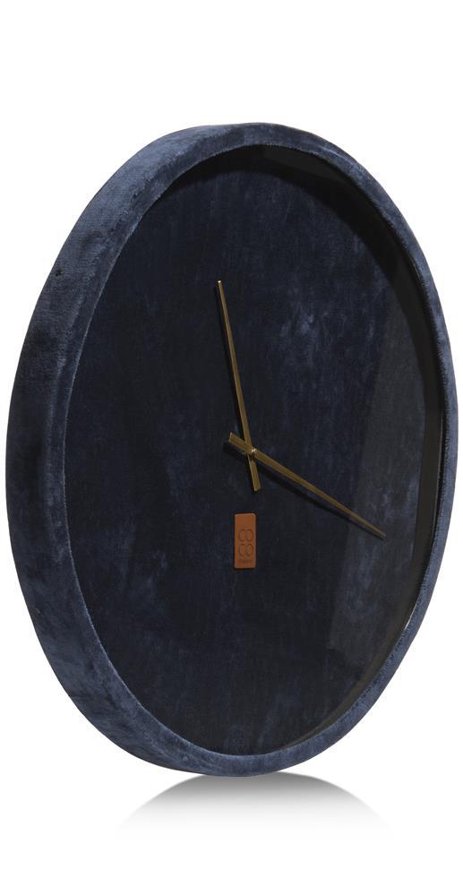 Horloge murale velours bleu foncé