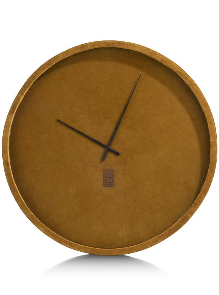 Horloge murale velours jaune moutarde