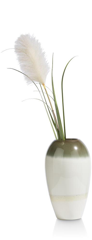 vase céramique beige et vert