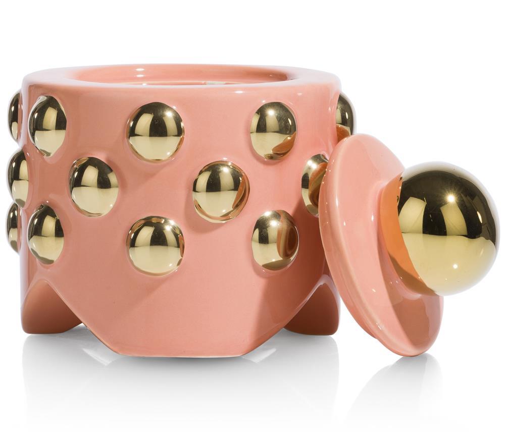 Petit pot en céramique corail et doré avec couvercle amovible