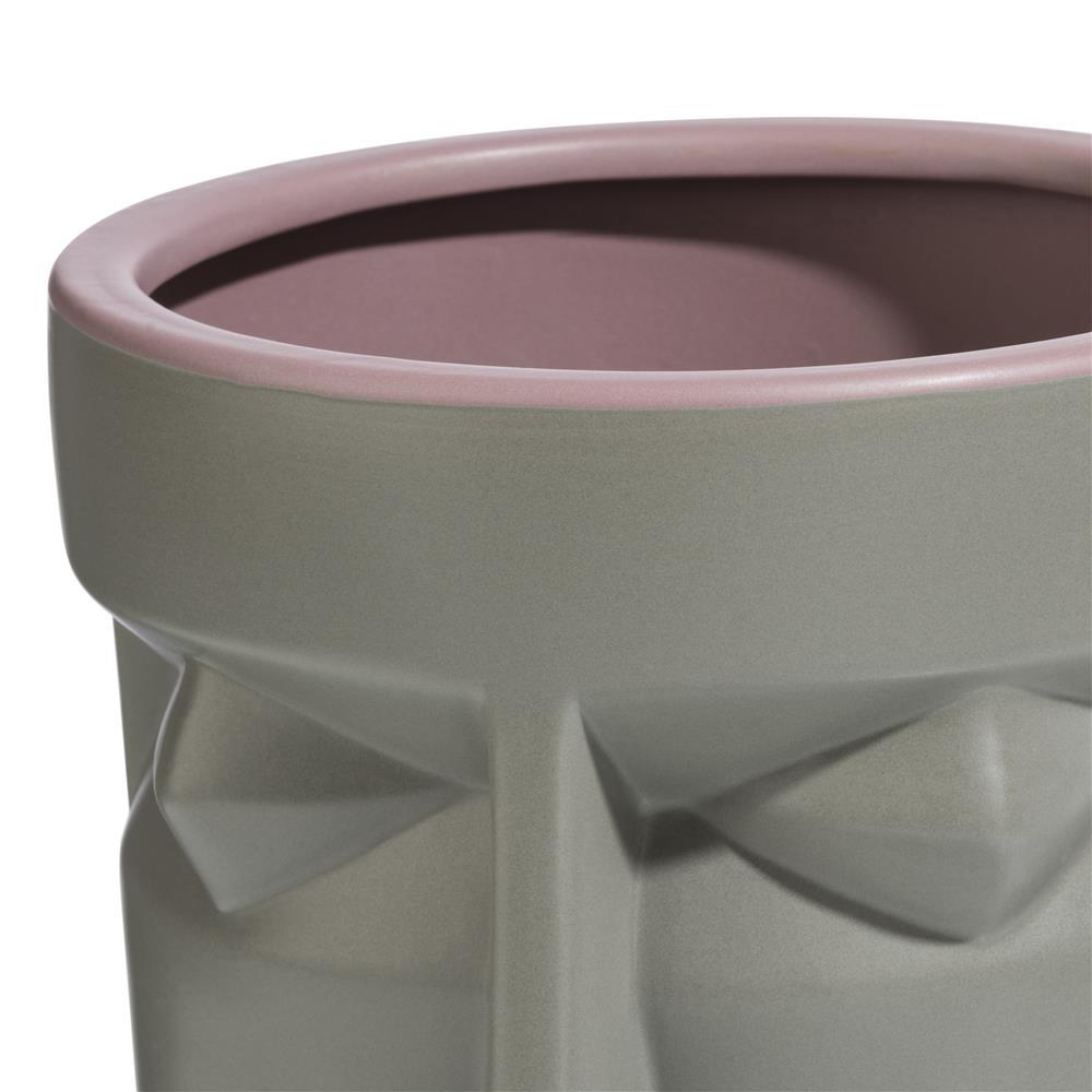 Pot en céramique gris et violet représentant un visage
