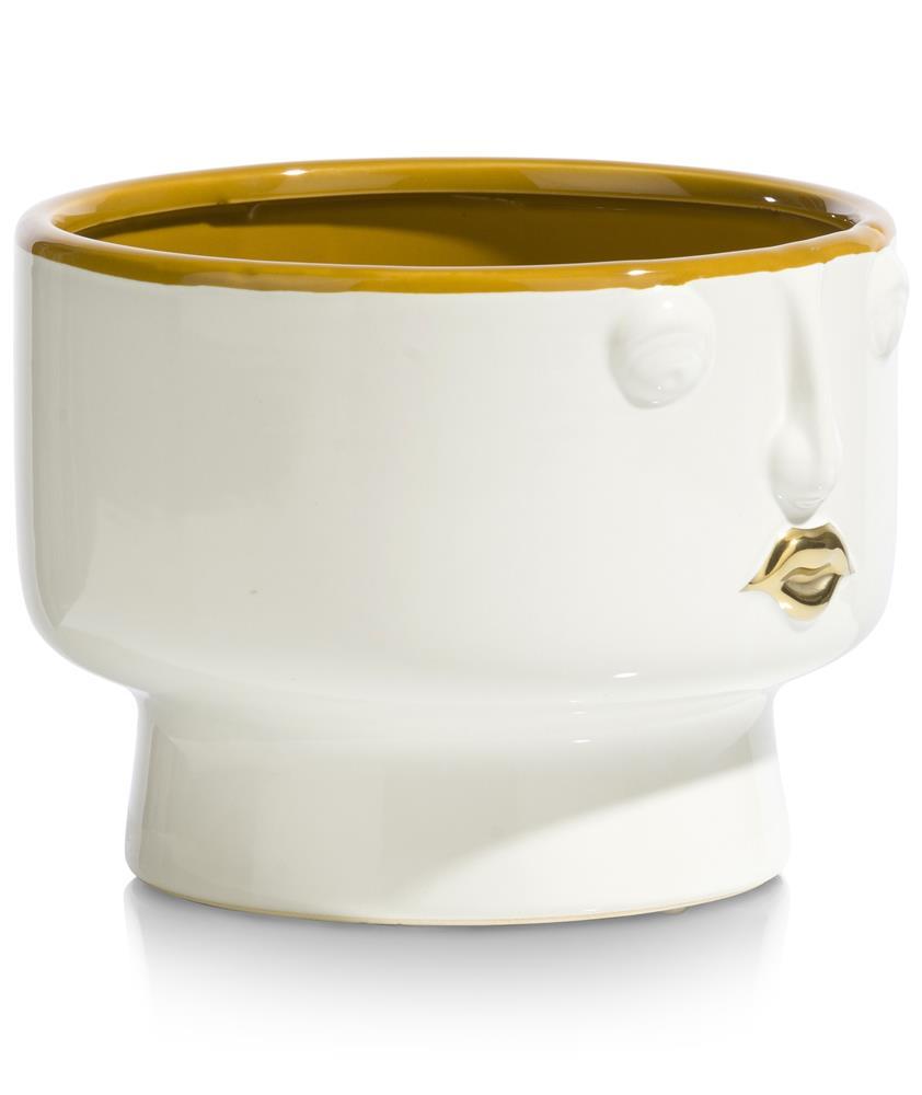 Vase tendance en céramique blanche et jaune