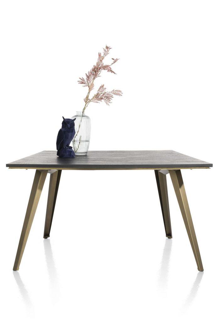 Table à manger industriel scandinave couleur anthracite et métal doré
