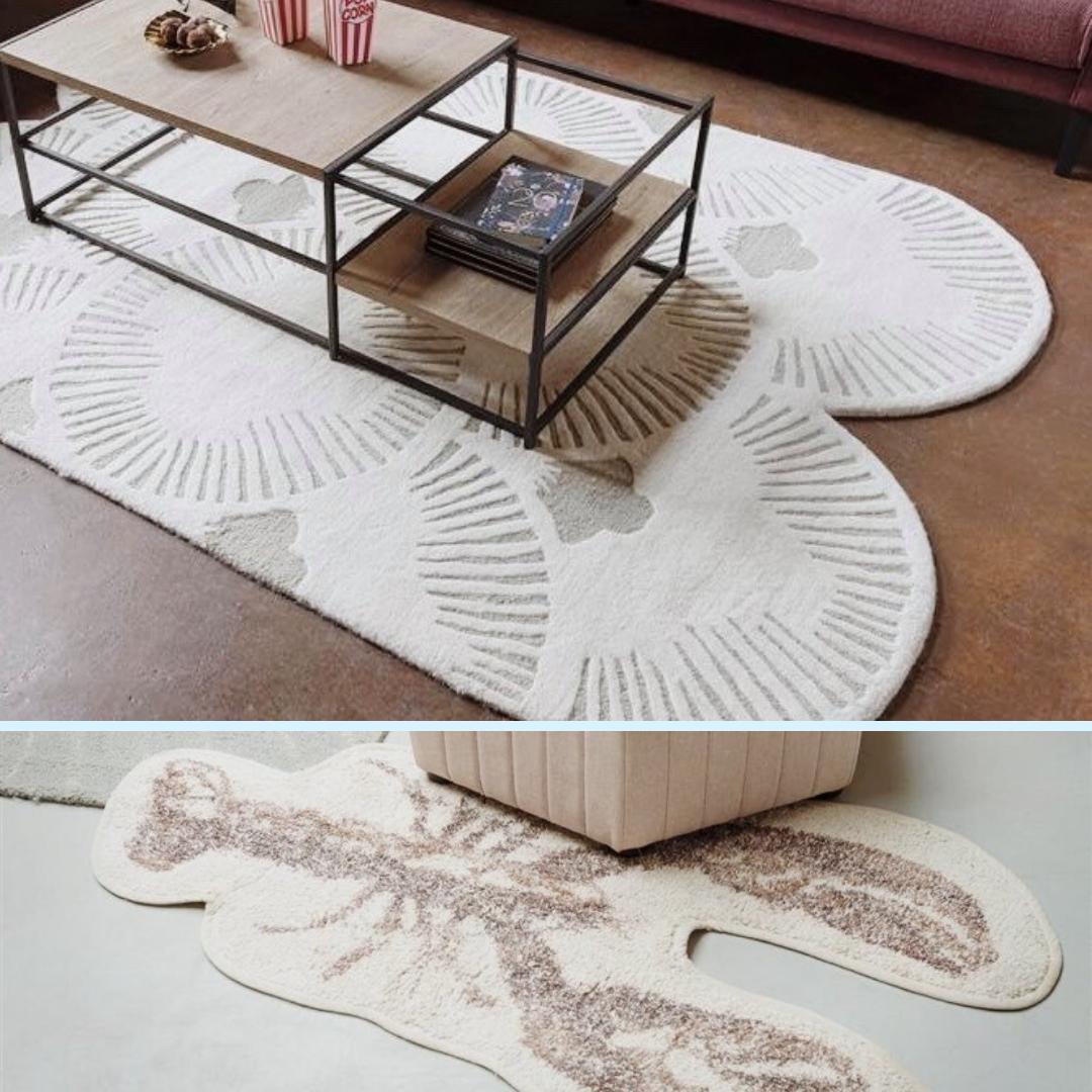 tapis salon forme déstructurée beige