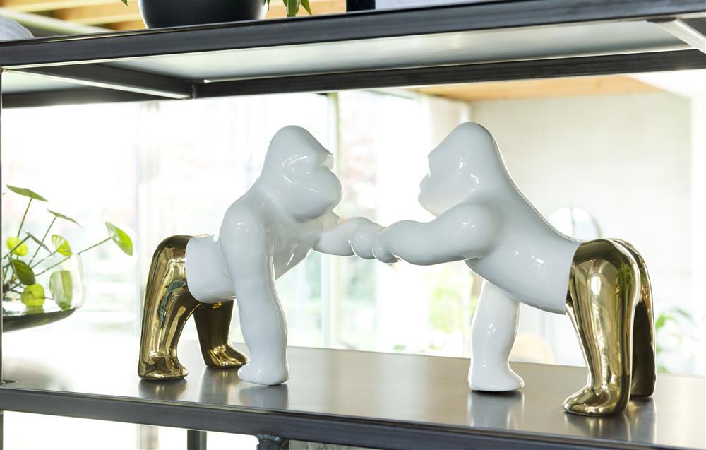 Figurine gorille bicolore blanc et doré en céramique