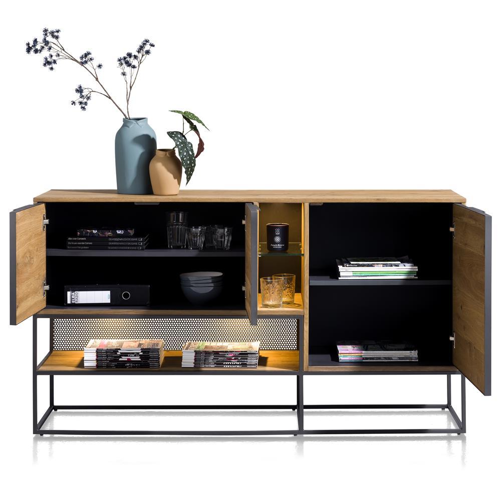 Buffet bois de chêne et métal noir style industriel