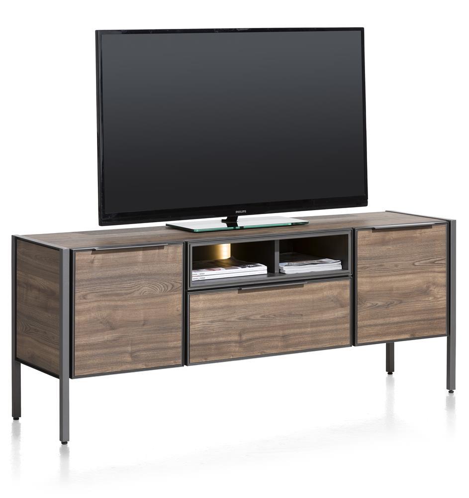 meuble TV 2 portes éclairage LED
