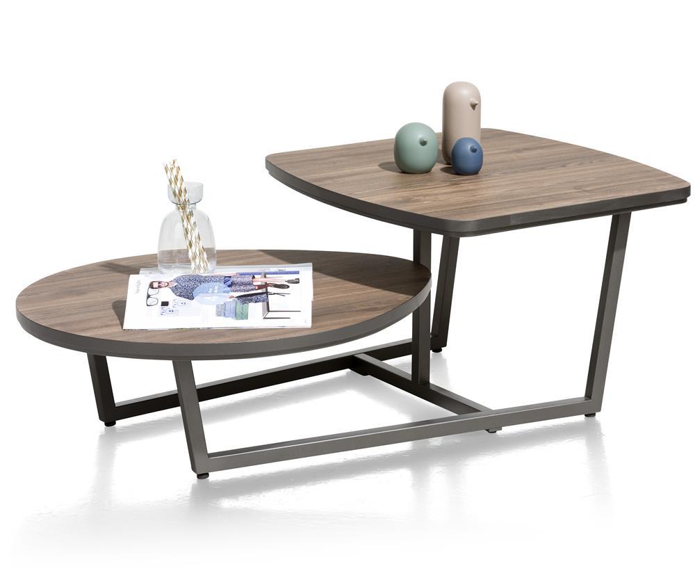Table basse effet bois deux plateaux arrondies