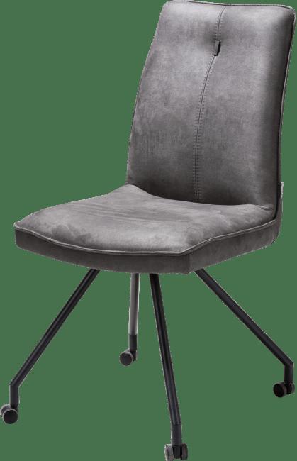 Chaise confortable sur roulettes en microfibre gris anthracite
