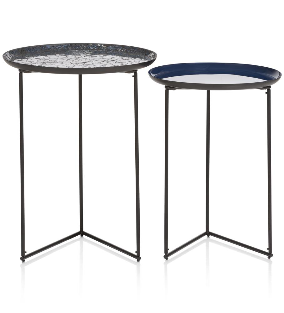 ensemble de deux tables gigognes moderne bleu et noir