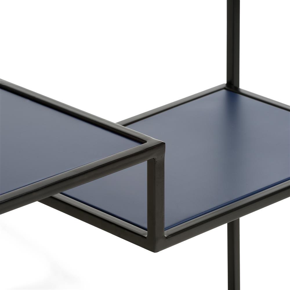console moderne en métal noir et bleu foncé