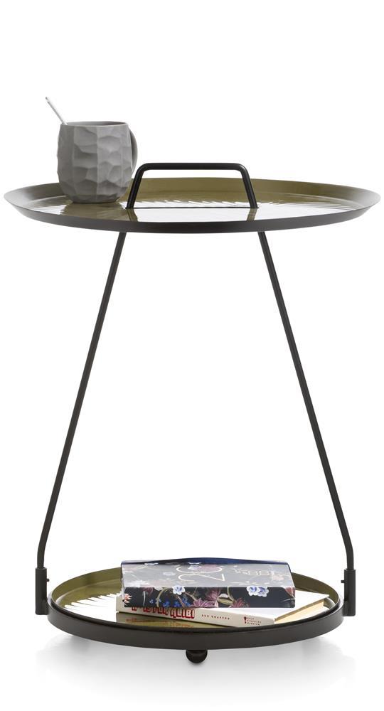Table sur roulette en métal noir et vert amande