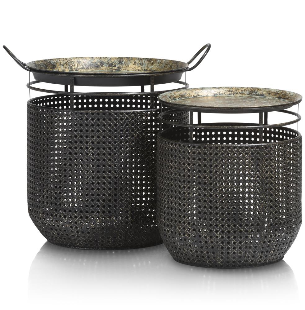 Panières en métal noir vintage imitation tissage canné
