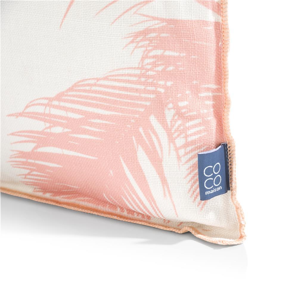 coussin rectangulaire motif feuille de palmier corail