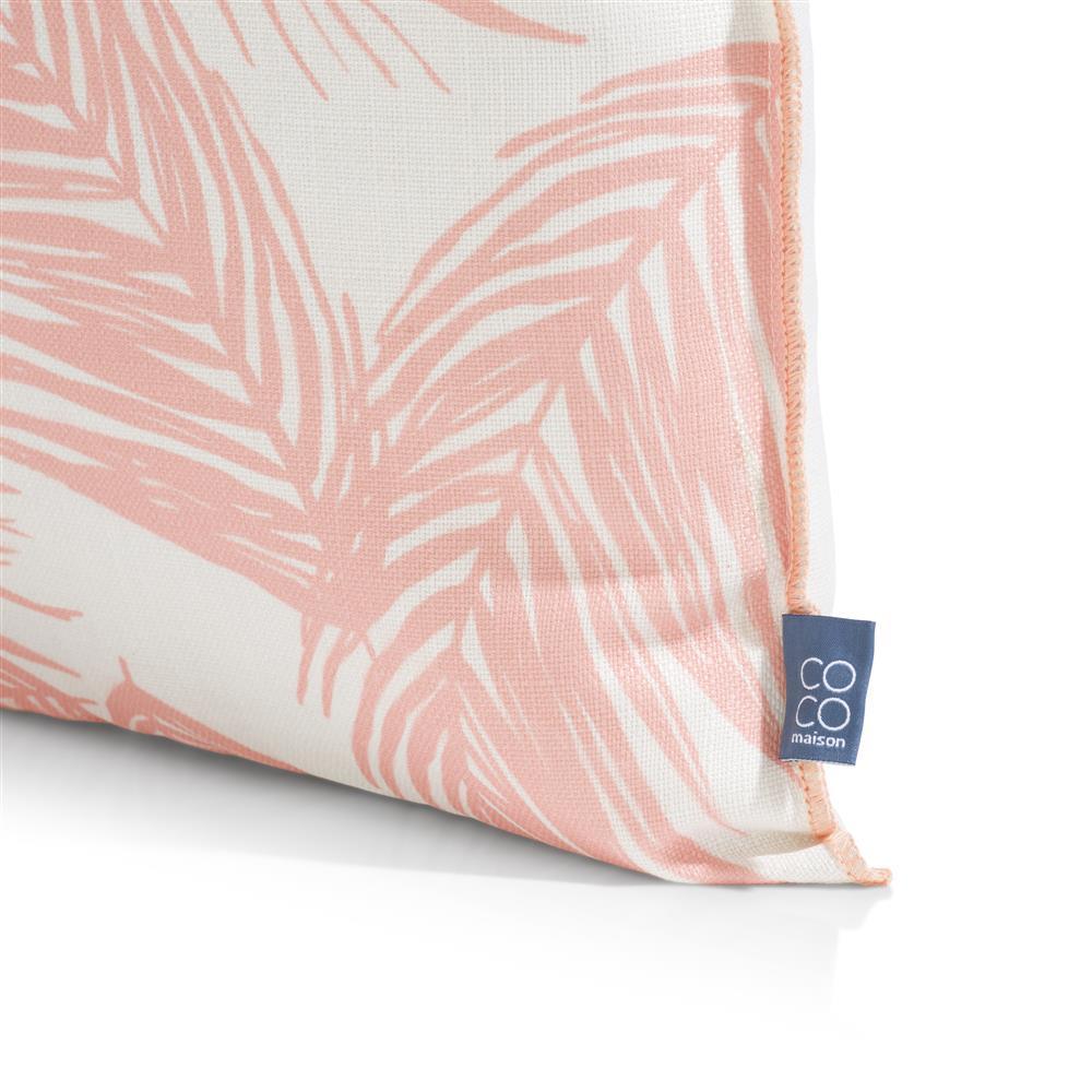 coussin carré motif feuille de palmier corail