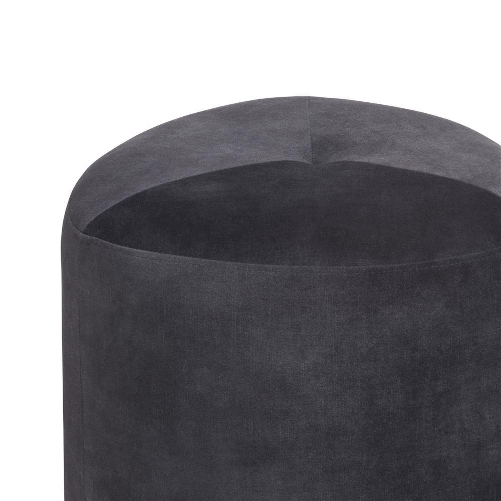 Pouf tendance en tissu gris anthracite