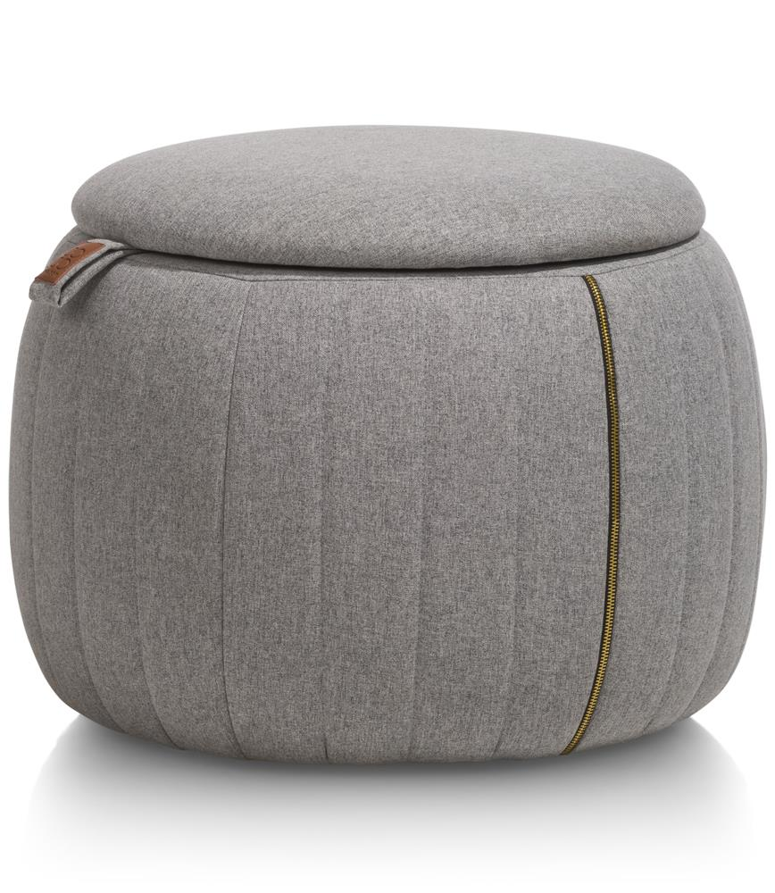 Petit pouf de rangement en tissu gris clair