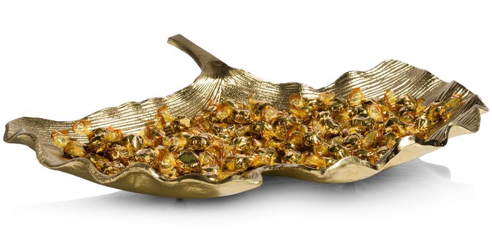 Plateau doré en forme de feuille de Ginkgo