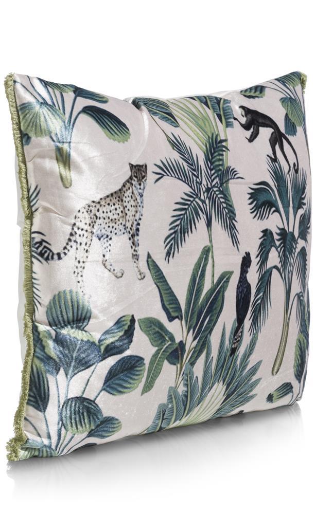 Coussin rectangulaire vert et beige motifs Jungle