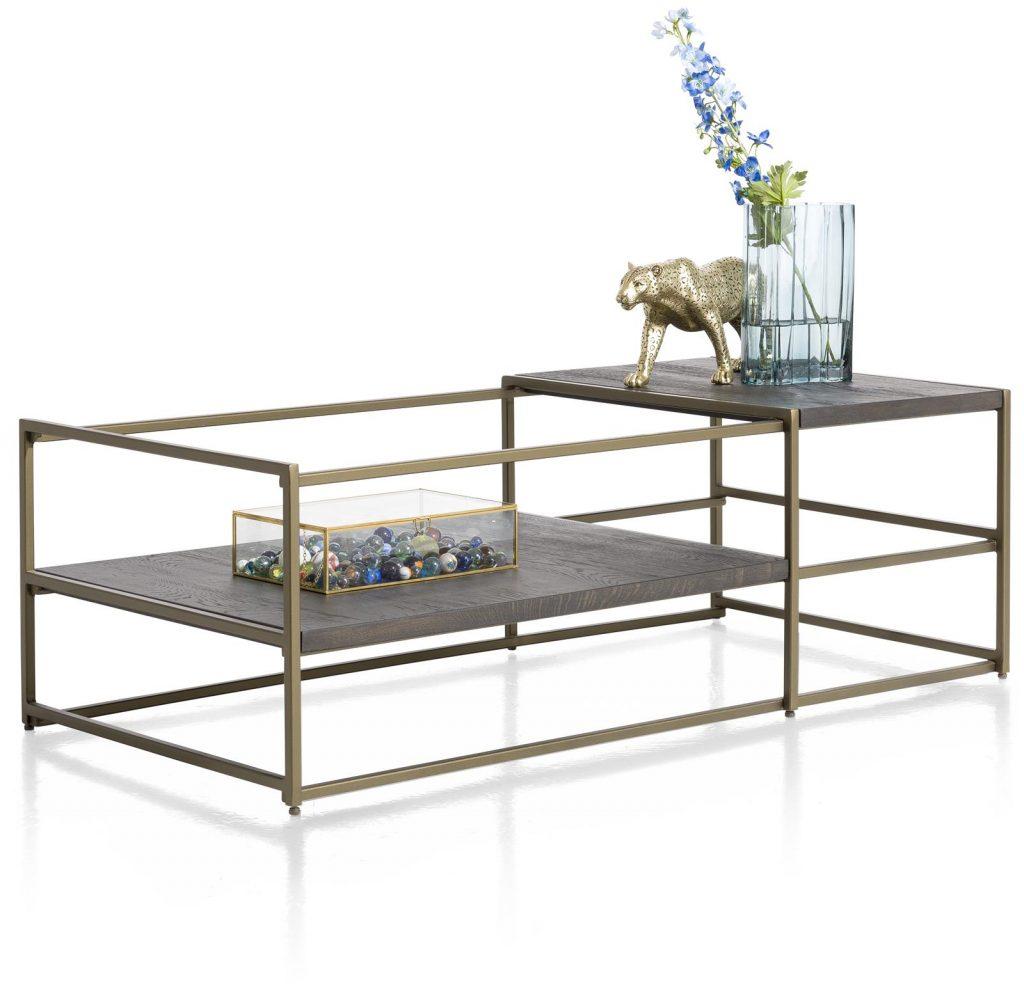Table basse minimaliste et industriel métal doré et anthracite