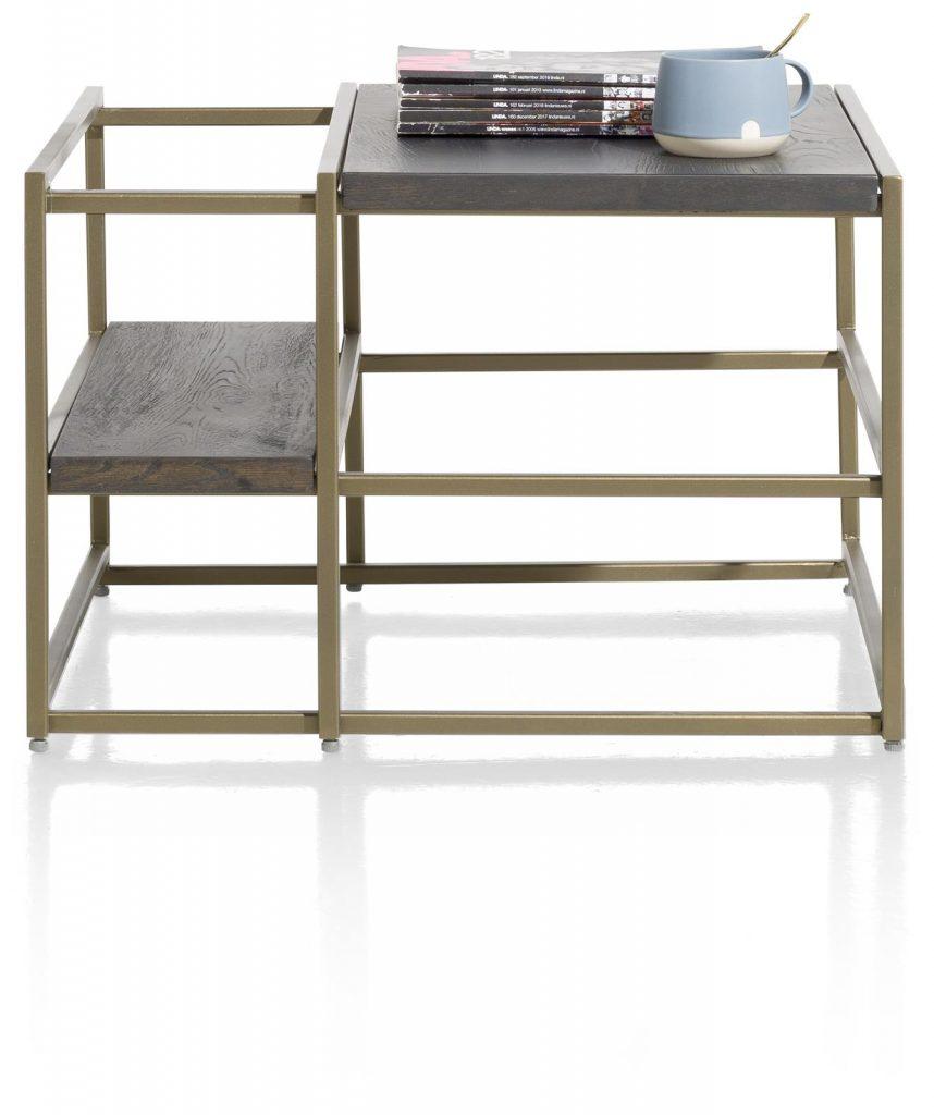 Bout de canapé minimaliste et industrielle anthracite et métal doré
