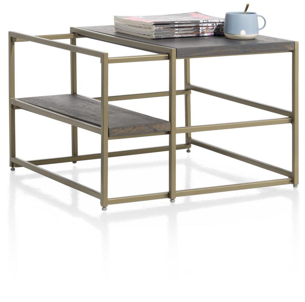 Bout de canapé minimaliste et industriel métal doré et anthracite