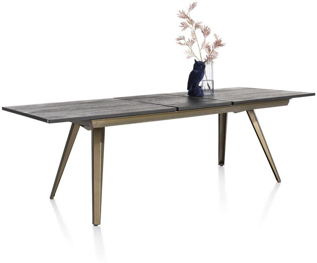 Table à rallonge style industriel scandinave anthracite et métal doré