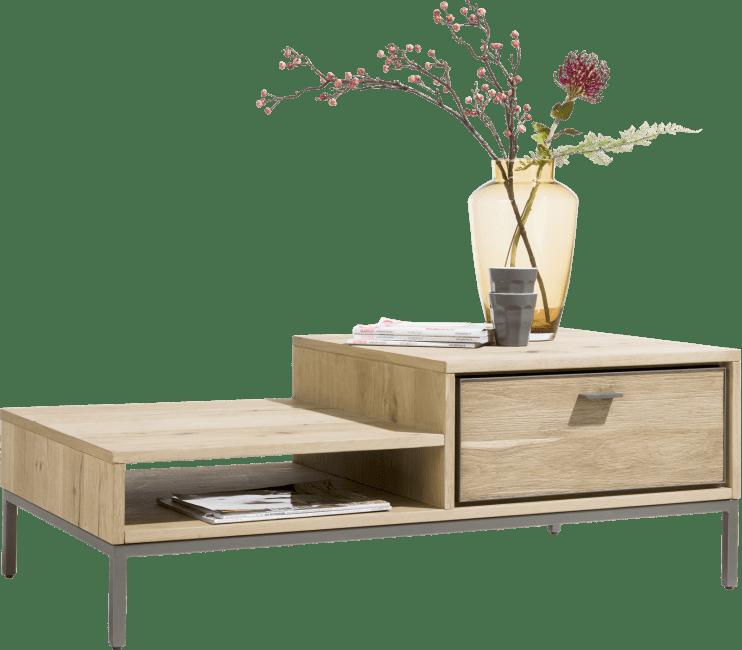 Table basse style industriel bois de chêne pieds en métal noir