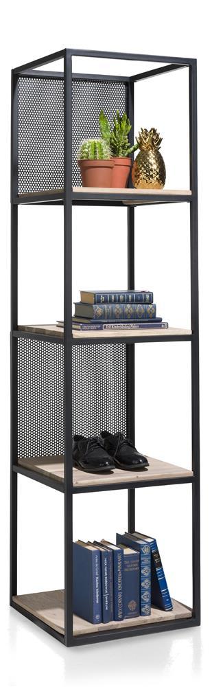 étagère industrielle métal noir et bois de kikar