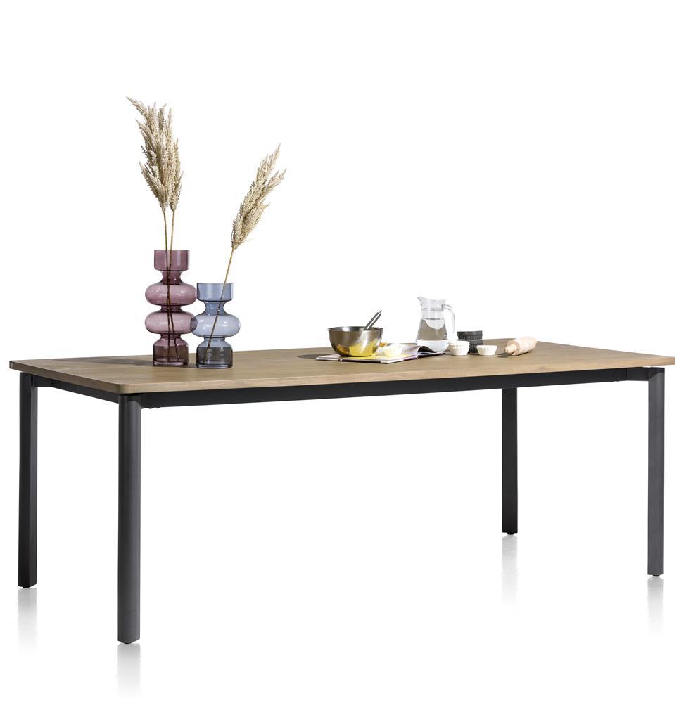 Table de repas fixe plateau bois et pieds en métal gris anthracite