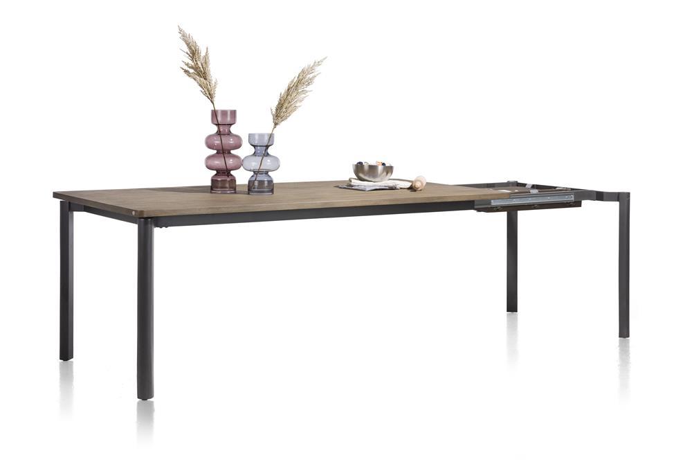Table à rallonge 4 à 8 places plateau bois foncé et pieds gris anthracite