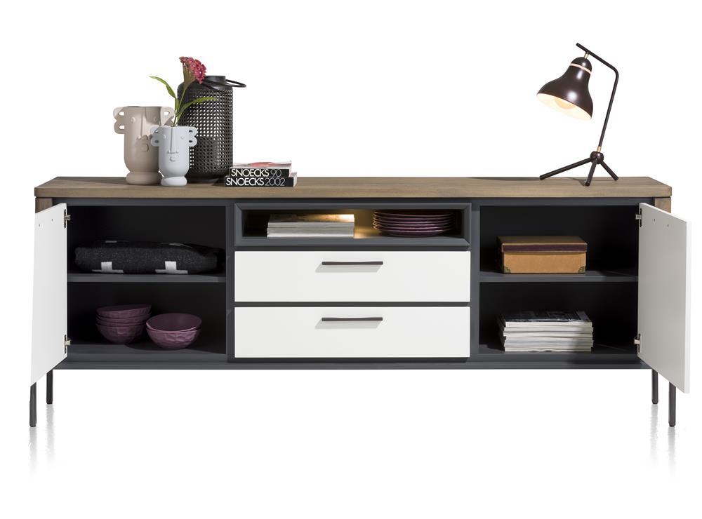 Buffet de rangement moderne en bois foncé et laqué blanc