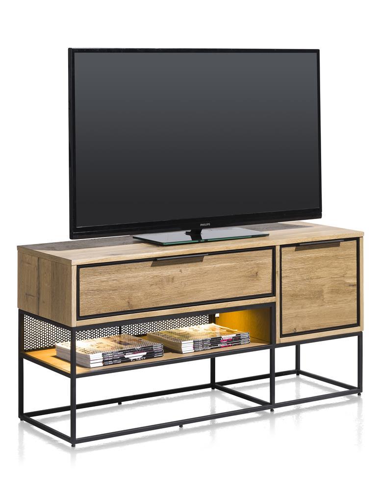 meuble TV style industriel bois de chêne plaqué et métal noir