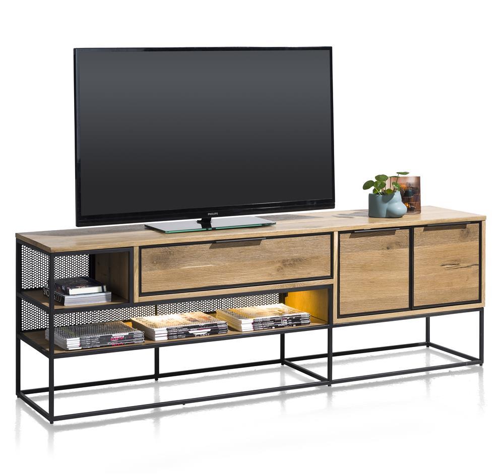 grand meuble TV style industriel bois de chêne plaqué et métal noir