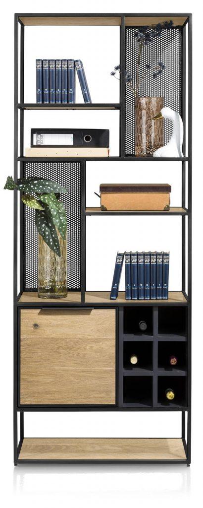 Bibliothèque industrielle en bois et métal noir