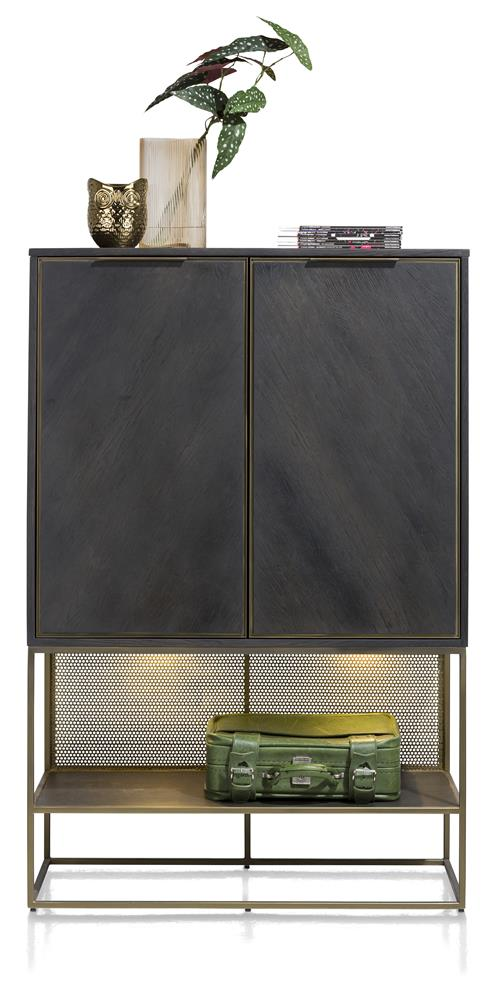 armoire style industrielle bois de chêne plaqué et métal