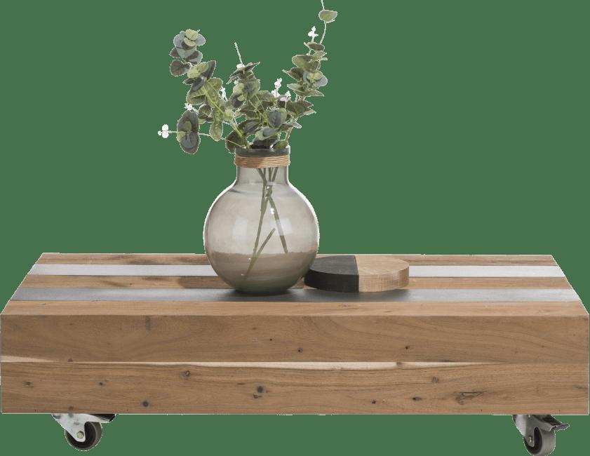 Table basse plateau bois épais sur roulettes