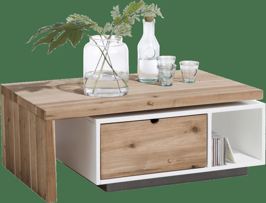 Table basse bois de chêne et laqué blanc avec plateau pivotant et tiroir