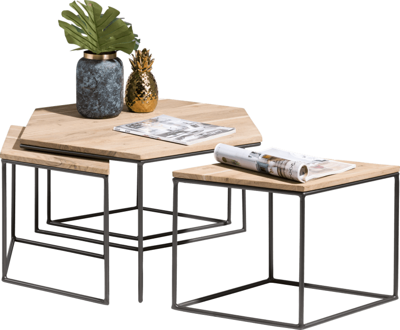 Table gigogne 4 éléments en bois de kikar et métal noir