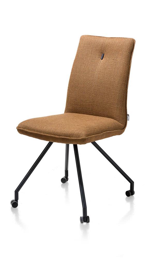 Chaise confortable sur roulettes en tissu marron cognac