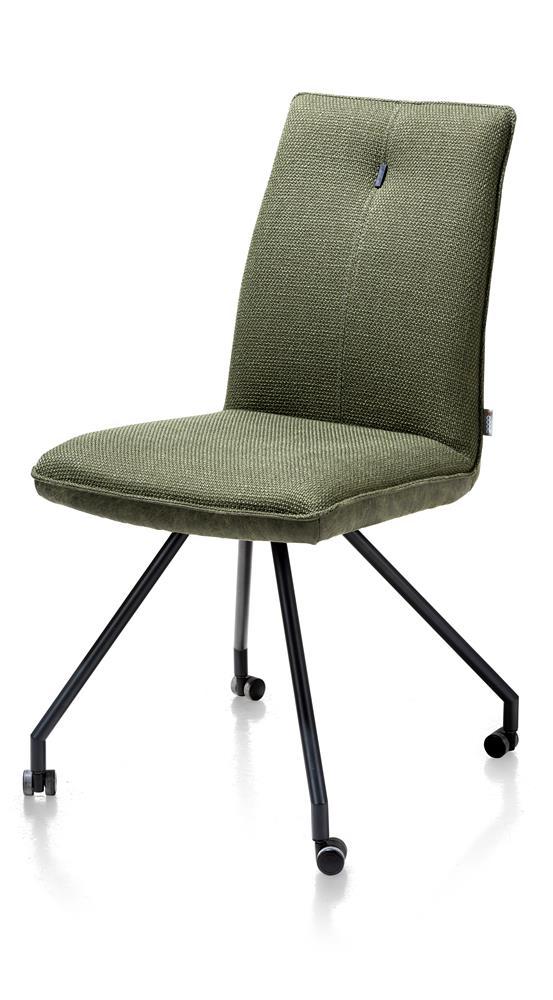 Chaise confortable sur roulettes en tissu vert