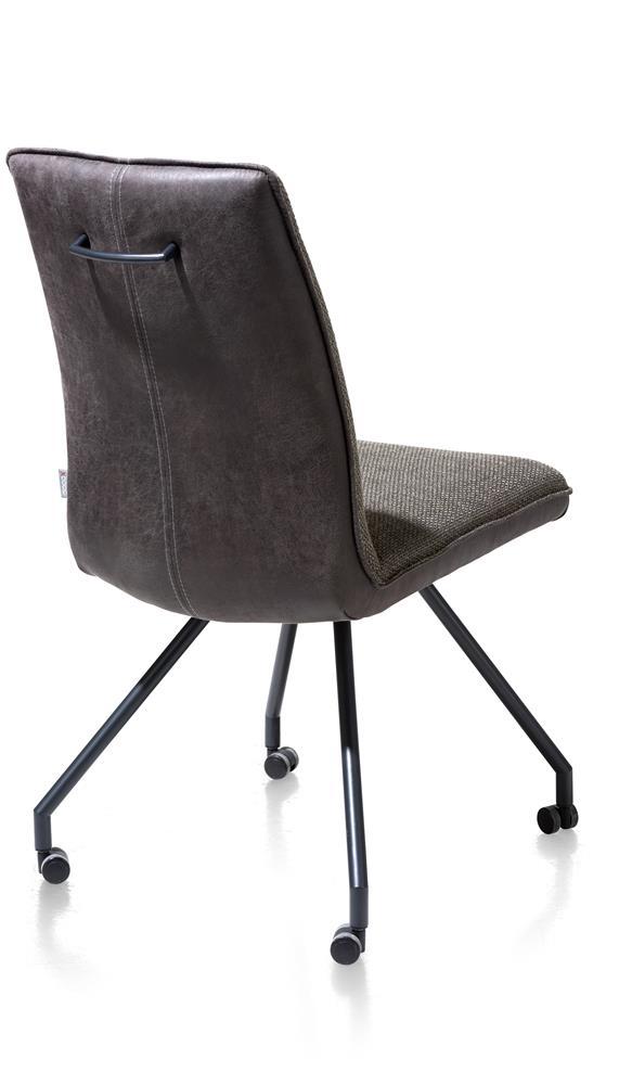 Chaise confortable sur roulettes en tissu gris anthracite