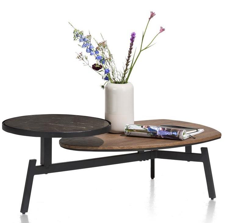 table basse scandinave bois foncé et métal noir