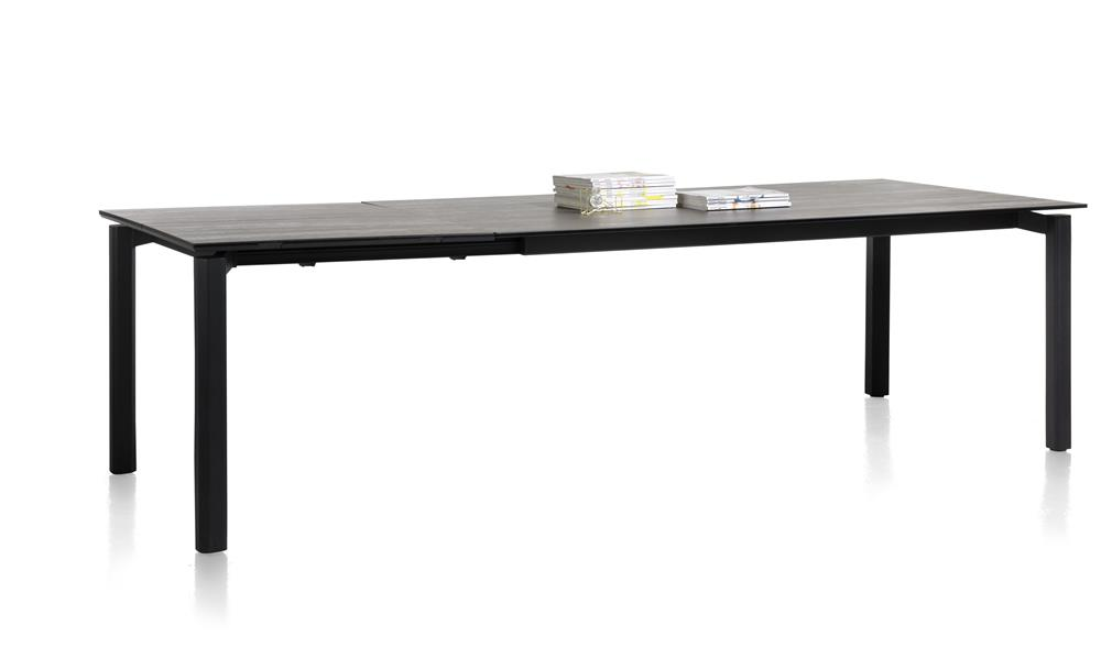Grande table à rallonge en céramique gris anthracite
