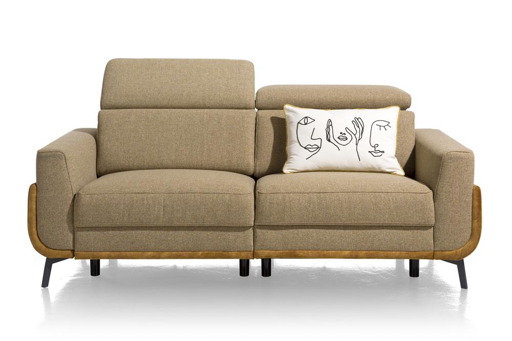 Canapé de relaxation 3 places en tissu beige