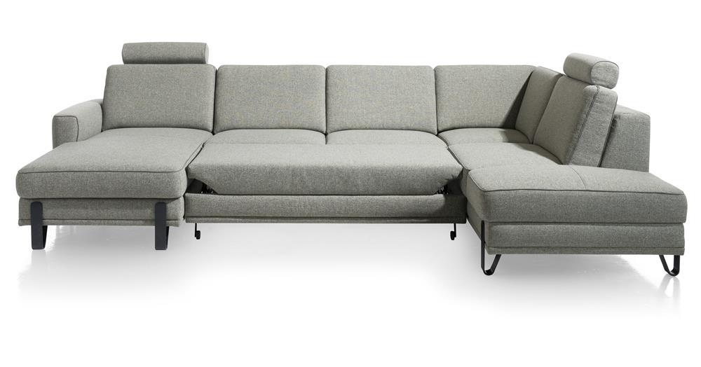Grand canapé d'angle convertible avec coffre de rangement en tissu gris clair