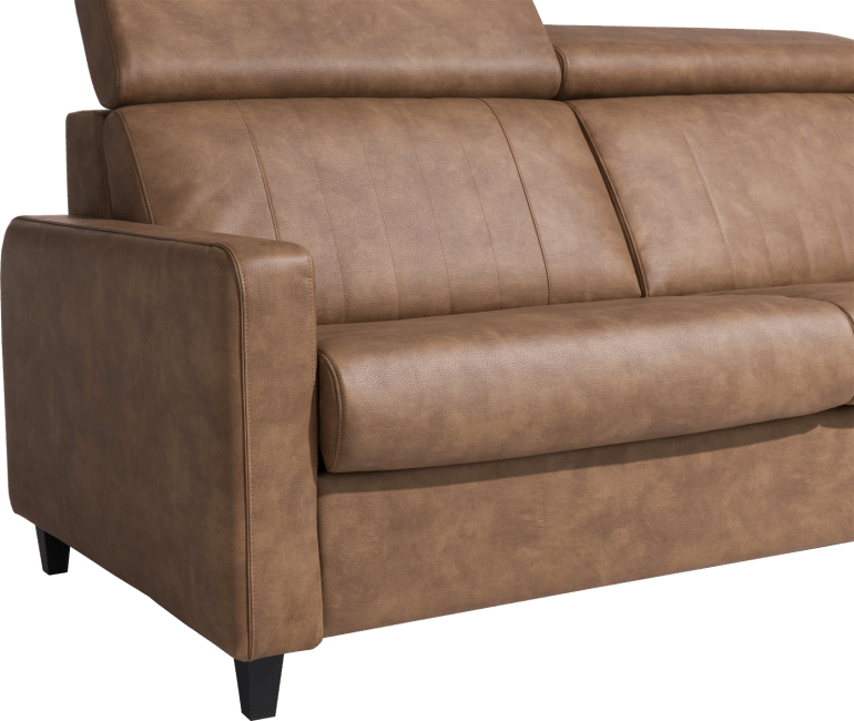 Canapé convertible style industriel en cuir marron